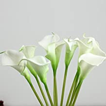 Artificial Fake Flowers In Vase Purple White Pink Blue Red 10 pcs Calla Lily Silk Flower For Wedding Party Home Garden Office Coffee Bridal Hydrangea Bookstore Cloth Shop Decorate (White)