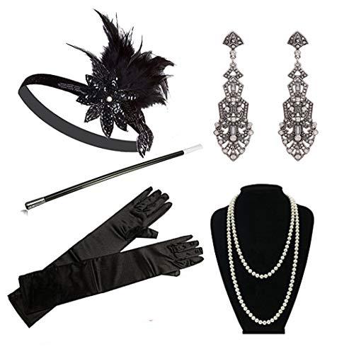 1920s Accessories Headband Necklace Gloves Cigarette Holder Flapper