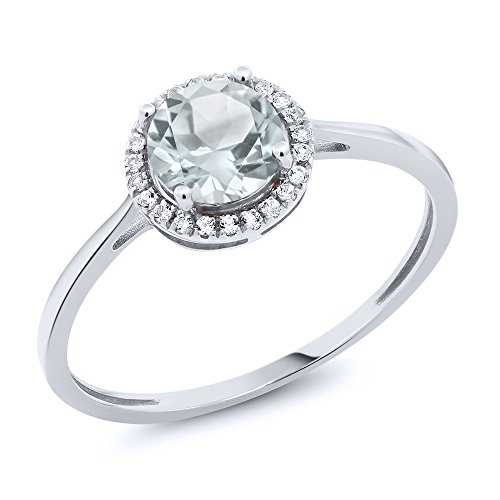 10K White Gold Diamond Engagement Ring Round Sky Blue Aquamarine (0.97 cttw, Size 6) Aquamarine 10k Gold Ring