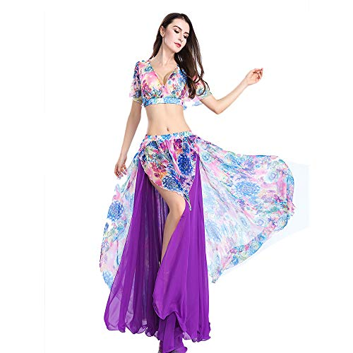 ROYAL SMEELA Belly Dance Costume Set for Women, One Size, Belly Dancing Skirt and Tops, 6 Colors Purple -