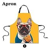 HUGSIDEA Funny Cute Pet Dog Print Kitchen Cooking Bib Aprons Sleevelless Adjustable