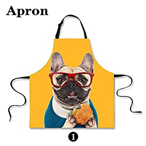 HUGSIDEA Funny Cute Pet Dog Print Kitchen Cooking Bib Aprons Sleevelless Adjustable