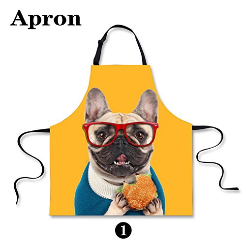Promotional Apron (HUGSIDEA Funny Cute French Bulldog Print Kitchen Cooking Bib Aprons for Adult)