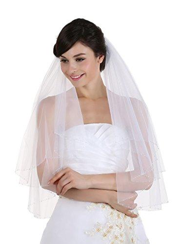 2T 2 Tier Clear Crystal Beaded Wedding Veil - Ivory Elbow Length 30
