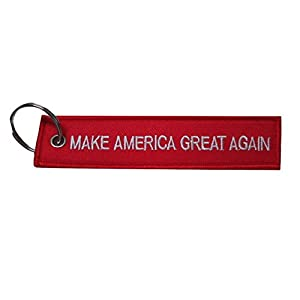 Make America Great Again Trump Embroidered Red/White Luggage Tag Keychain by TrendyLuz