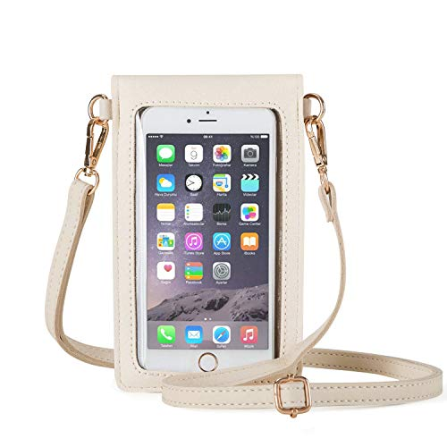 (AnsTOP Lightweight Leather Mini Pouch Small Crossbody Bag Cell Phone Purse Wallet Shoulder Bags for Women, Fit with iPhone X, 8 Plus (White))