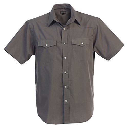 Gioberti Mens Casual Western Solid Short Sleeve Shirt with Pearl Snaps, Gray, 2X - Grey Button Pearl
