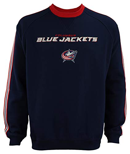 (Reebok NHL Men's Columbus Blue Jackets Fleece Crew, Navy Medium )