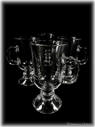 Set of 12 Glass Footed Irish Glasses Iced Coffee Tea Mugs