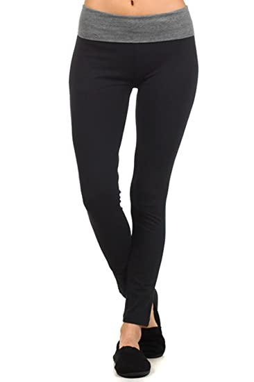 3ea020966f969 Amazon.com: MOPAS Yoga Pants with Fold Over Solid Waistband Grey Size L:  Clothing