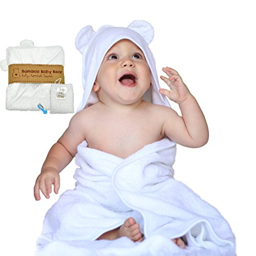 100% ORGANIC Bamboo Baby Bear Hooded Bath Towel & Washcloth Gift Set (Puppy Hooded Bath Towel)