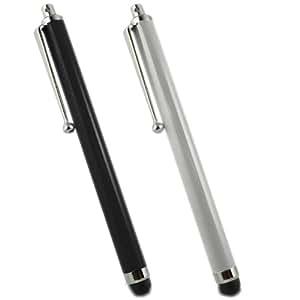 Samrick - Lápiz capacitivo para Apple iPhone 4S (aluminio, 2 unidades), color negro y plateado