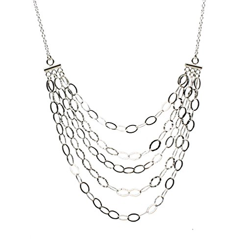 (Sterling Silver Multi-strand Bib Chain Necklace Italy 17