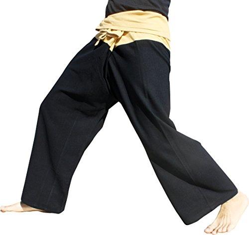 (RaanPahMuang Brand Thick Cotton Two Tone Thailand Fisherman Wrap Pants Tall, X-Large, Black-Wood Brown)