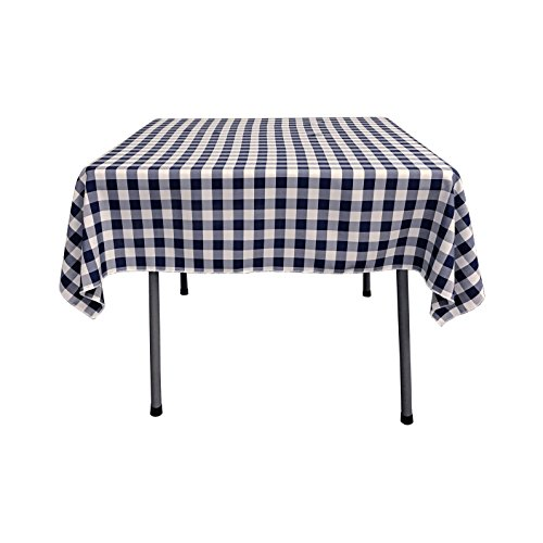 LA Linen Checkered Overlay Tablecloth, 58 by 58-Inch, Navy Blue