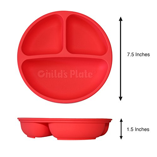 Baby / Toddler Divided Plate Microwave Safe 100% Silicone FDA Certified BPA Free 3 Pack by Child's Plate (Image #1)