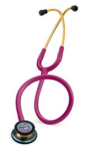 3M Littmann Classic III Stethoscope, Basic Adult Blood Pressure Cuff, Tuning Fork, Percussion Hammer, Tape Measure, ID Tag, Otoscope/Penlight, and Bandage Sissors (Raspberry Rainbow-5806) ()