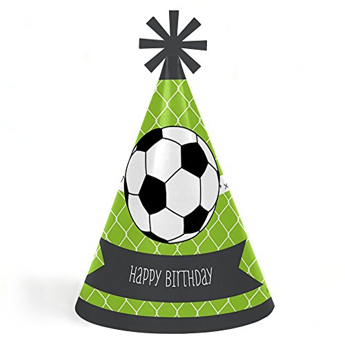 Big Dot of Happiness GOAAAL! - Soccer - Cone Happy Birthday Party Hats for Kids and Adults - Set of 8 (Standard Size) by Big Dot of Happiness