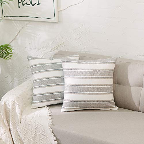 NATUS WEAVER Set of 2, Stripe Pillow Case Soft Linen Decorative Throw Cushion Cover Pillowcase with Hidden Zipper for Sofa 18