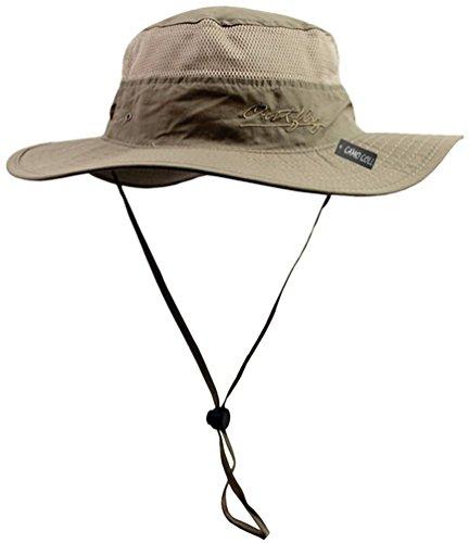 Camo Coll Outdoor Sun Cap Camouflage Bucket Mesh Boonie Hat (Khaki, One (Boonie Hat Camouflage Hat)