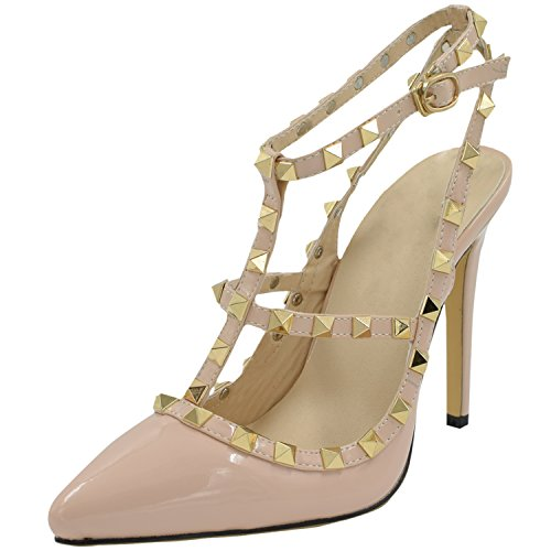 Womens Pointed Stiletto PU Fashion Pumps with Rivets Apricot - 4