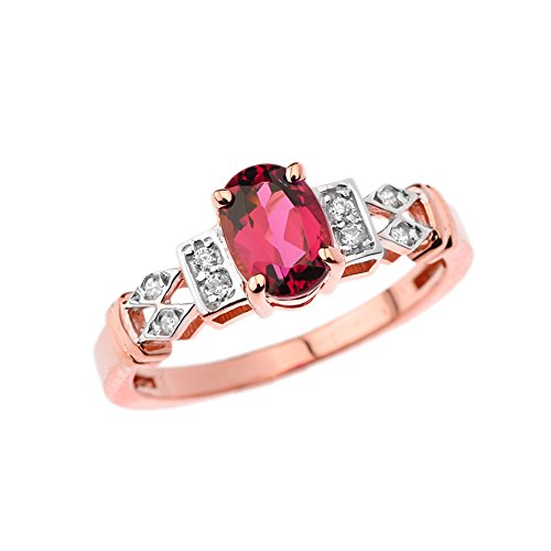 - Exquisite 14k Rose Gold Diamond with Solitaire Pink Tourmaline Engagement/Promise Ring (Size 7.25)