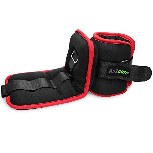 A2ZCARE Ankle Weight/Wrist Weight Set with Neoprene Padding for Soft, Comfortable Feel (Black/Red (3lbs Pair))