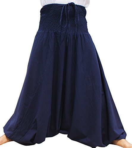 RaanPahMuang Brand Summer Cotton Jump Suit Halter Smock Top Outfit or Pants, Medium 46 inches Length, Dark Blue
