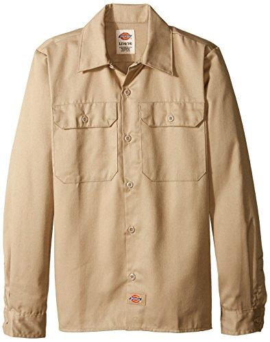(Dickies Big Boys' Twill Long Sleeve Shirt, Khaki, Large)