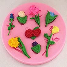 Ai&M Valentine's Day Roses Lilies Tulips Flower Fondant Cake Chocolate Silicone Mold Cake Decoration ,L8cm*W8cm*H1cm