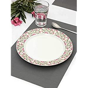 India Circus Fine Ceramic Floral Prints Dinner Plate 10.5″ – Set of 2 Pieces