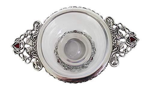 AE Williams Stunning Pewter & Glass Wedding Bells & Red Enamel Love Heart Toasting Celebration Quaich
