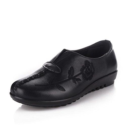 Zapatos de mamá/ zapatos planos con bordados anciano/Nacional de viento medio grande y viejo de años zapatos de las mujeres A