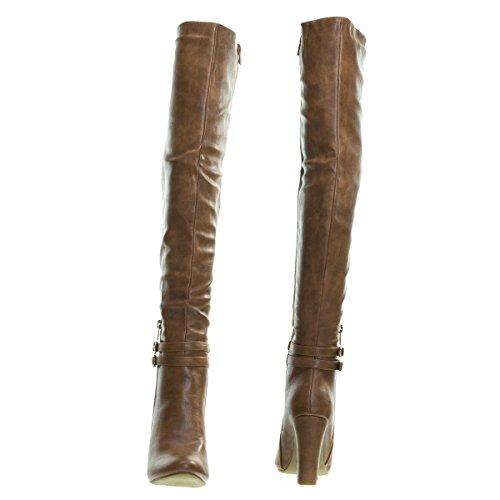The Boots Buckle Tan w Double Dress Block Knee Heel Over Ew1Fxxqf7