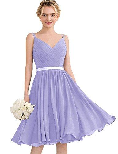 Damen Kleider Abendkleider Ballkleider Chiffon Spaghetti Beyonddress Hochzeit Lavendel Kurz Partykleider Träger Festzug dwSZz0qn