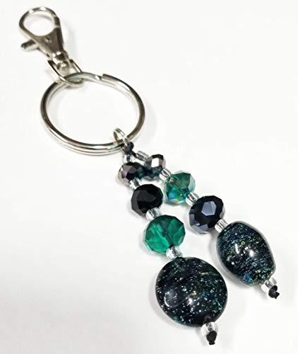 - Green & Black lampwork & Crystal Glass Bead Keychain Key Ring Lanyard