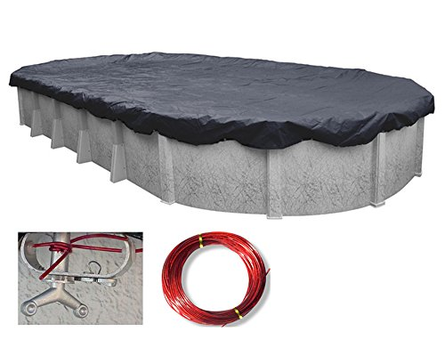 Deluxe Oval Above Ground Swimming Pool Winter Covers- 10 Year Warranty (18 x 33/34 Ft)