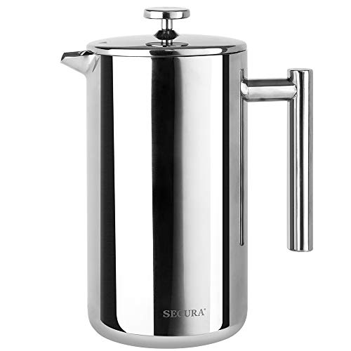 Secura 1500ML French Press Professional Rust Proof Coffee Maker 18/10 Bonus Stainless Steel Screen 2 Year Warranty from Secura