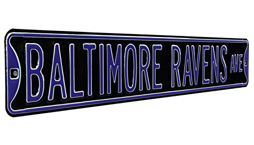 Fremont Die NFL Baltimore Ravens Metal Wall Décor- Large, Heavy Duty Steel Street Sign