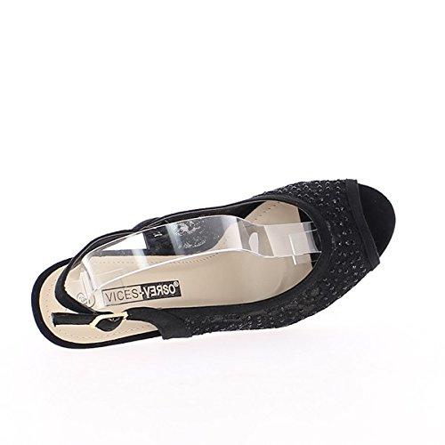 Sandalias Negras de Encaje Finos Talones DE 8, 5cm con Diamantes de Imitación
