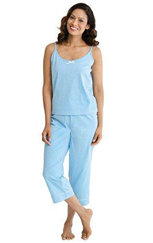 PajamaGram Soft Cotton Pajamas Women - Womens Capri Pajama Sets, Blue, L, 12-14
