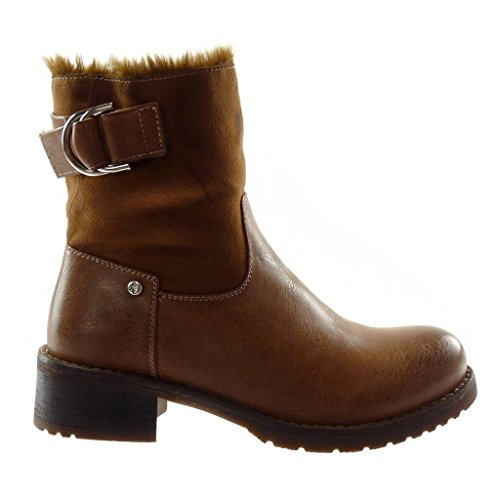 Besetzt Material Schleife Heel Nieten High Damen Schuhe bi Pelz cm Schneestiefel Angkorly Camel Stiefeletten 4 Blockabsatz Biker qXvT0