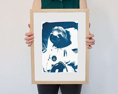 Cyanotype Print, Astronaut Sloth Meme On Watercolor Paper - Sloth Art