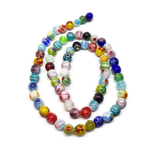 Beading Station 65-Piece Mix Millefiori Flower Lampwork Glass Round Beads, 6mm ()