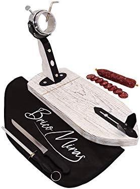 Jamonero Modelo Bellota Color Blanco Fabricado en Madera de Primera Calidad, Jamonero rústico ideal uso doméstico y profesional, incluye barra salchichón, cubrejamón negro, cuchillo y chaira