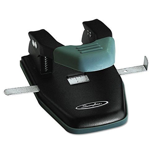 28-Sheet Comfort Handle Steel Two-Hole Punch, 1/4'' Holes, Black, Total 12 EA, Sold as 1 Carton