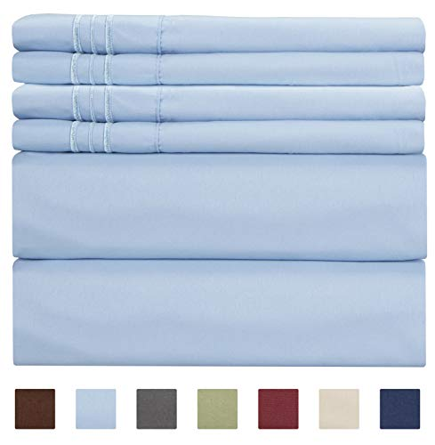 Full Size Sheet Set - 6 Piece Set - Hotel Luxury Bed Sheets - Extra Soft - Deep Pockets - Easy Fit - Breathable & Cooling Sheets - Comfy - Light Blue Bed Sheets - Baby Blue - Fulls Sheets - 6 PC