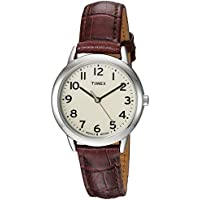 Timex Women's TW2R30300 Easy Reader Croco Pattern Brown Leather Strap Watch