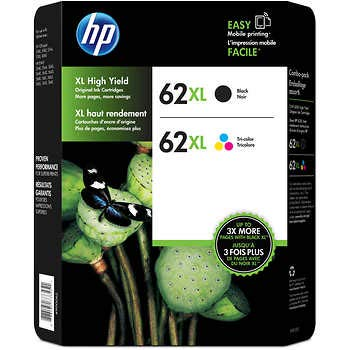 Inkjet Printer Black Ink - Genuine HP 62XL Black and Color Inkjet Cartridges in Retail Combo Pack