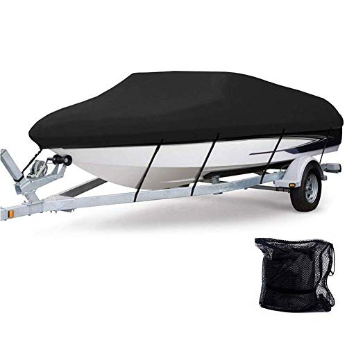 Anglink Waterproof Boat Cover, Heavy Duty 600D Polyester Oxford Professional Bass Runabout Boat Cover, Durable and Tear Proof, All Weather Outdoor Protection Fits 17-19 feet V-Hull, Tri-Hull (Best Waterproof Boat Cover)